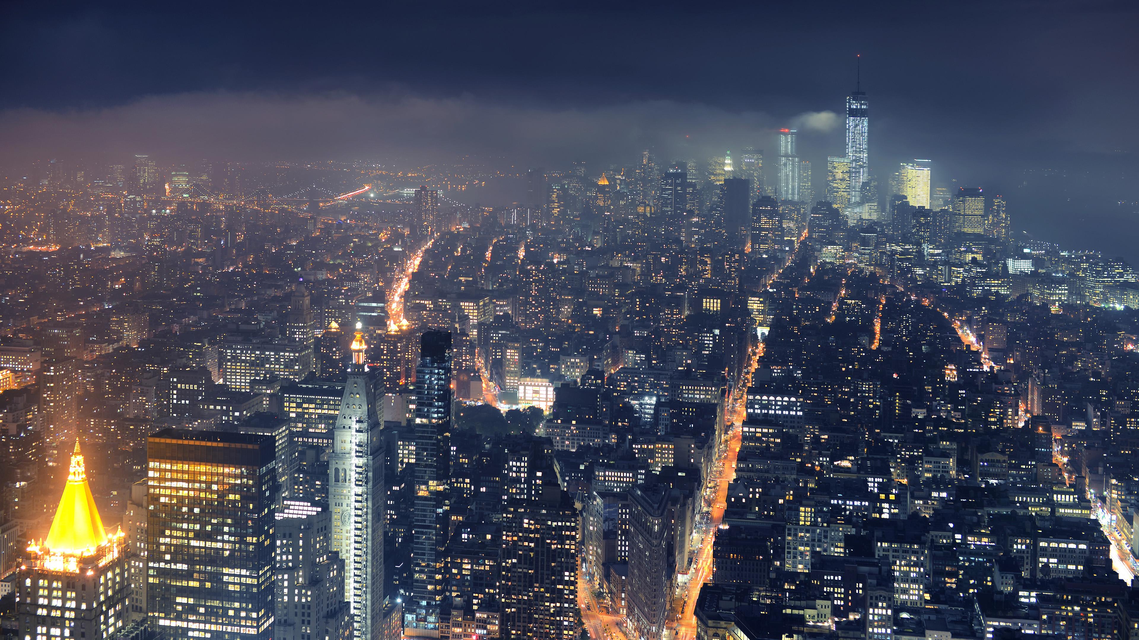 City Manhattan Night Town Usa 3840x2160