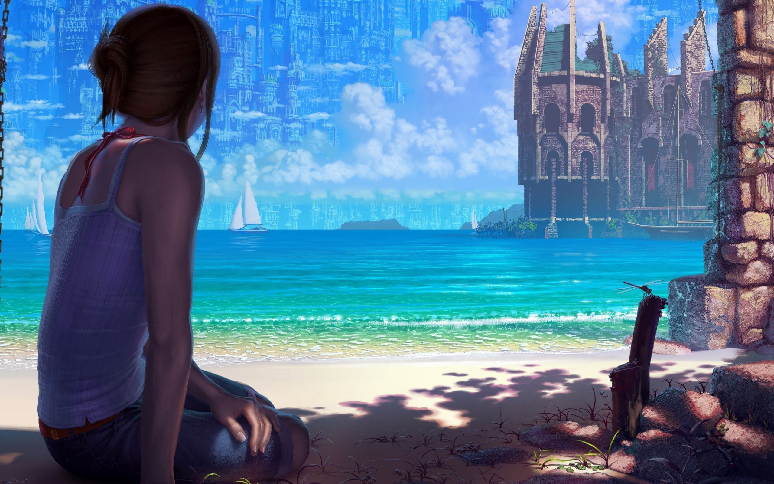 Beach Boat Building Girl 2560x1600