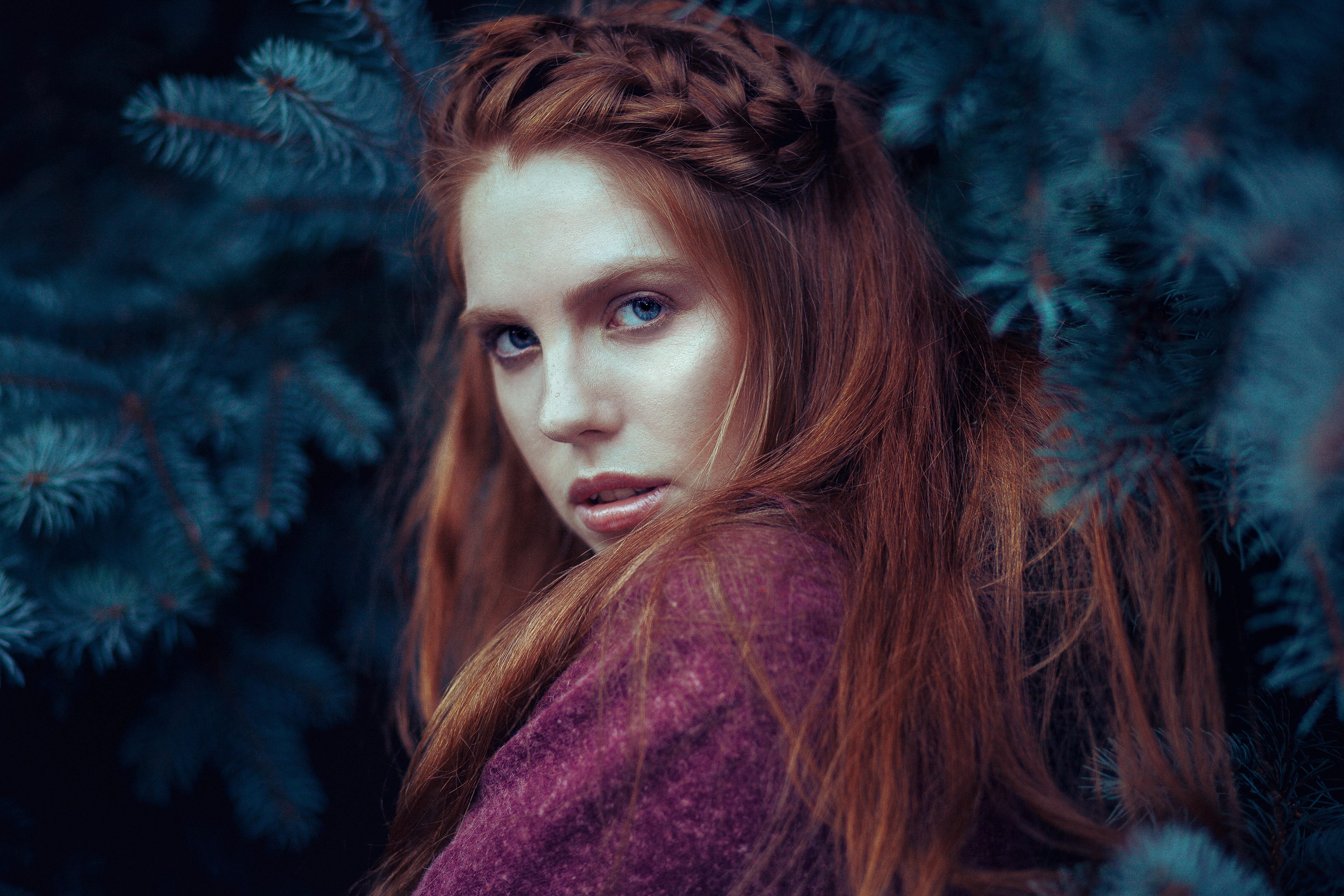 Blue Eyes Girl Model Redhead Woman 7000x4667