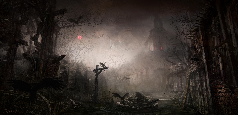 Dark Diablo Iii Gothic Raven Town 6000x2903