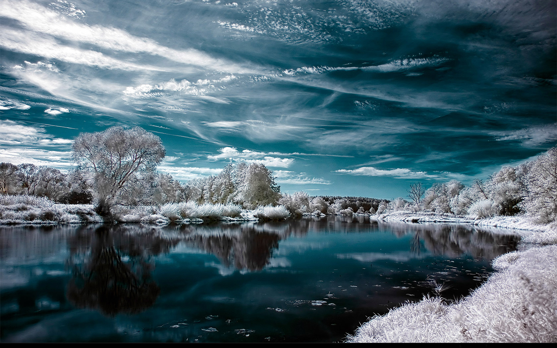 Artistic Earth Reflection Sky Water Winter 1920x1200