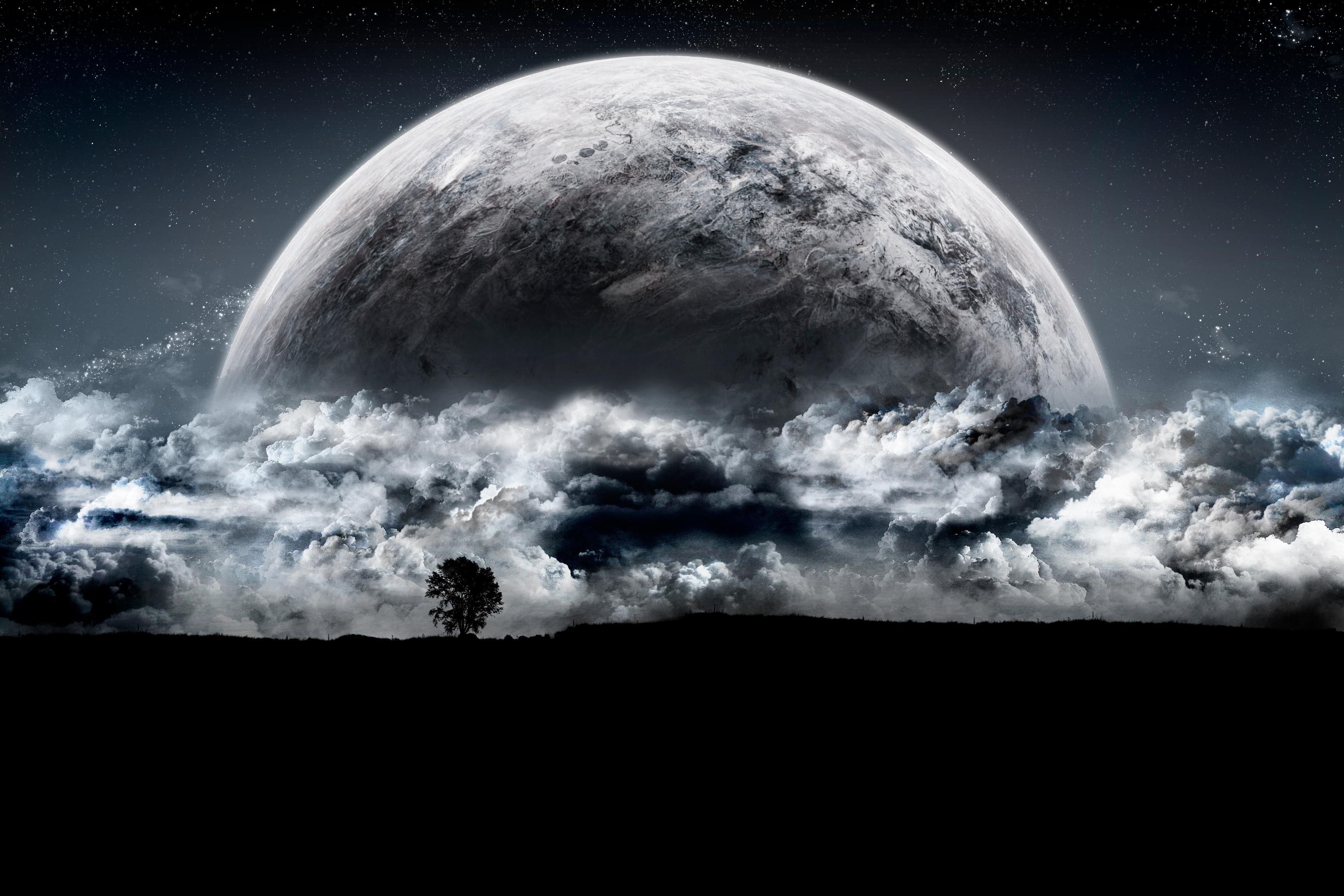 Moon Planet Planet Rise Sky 3456x2304