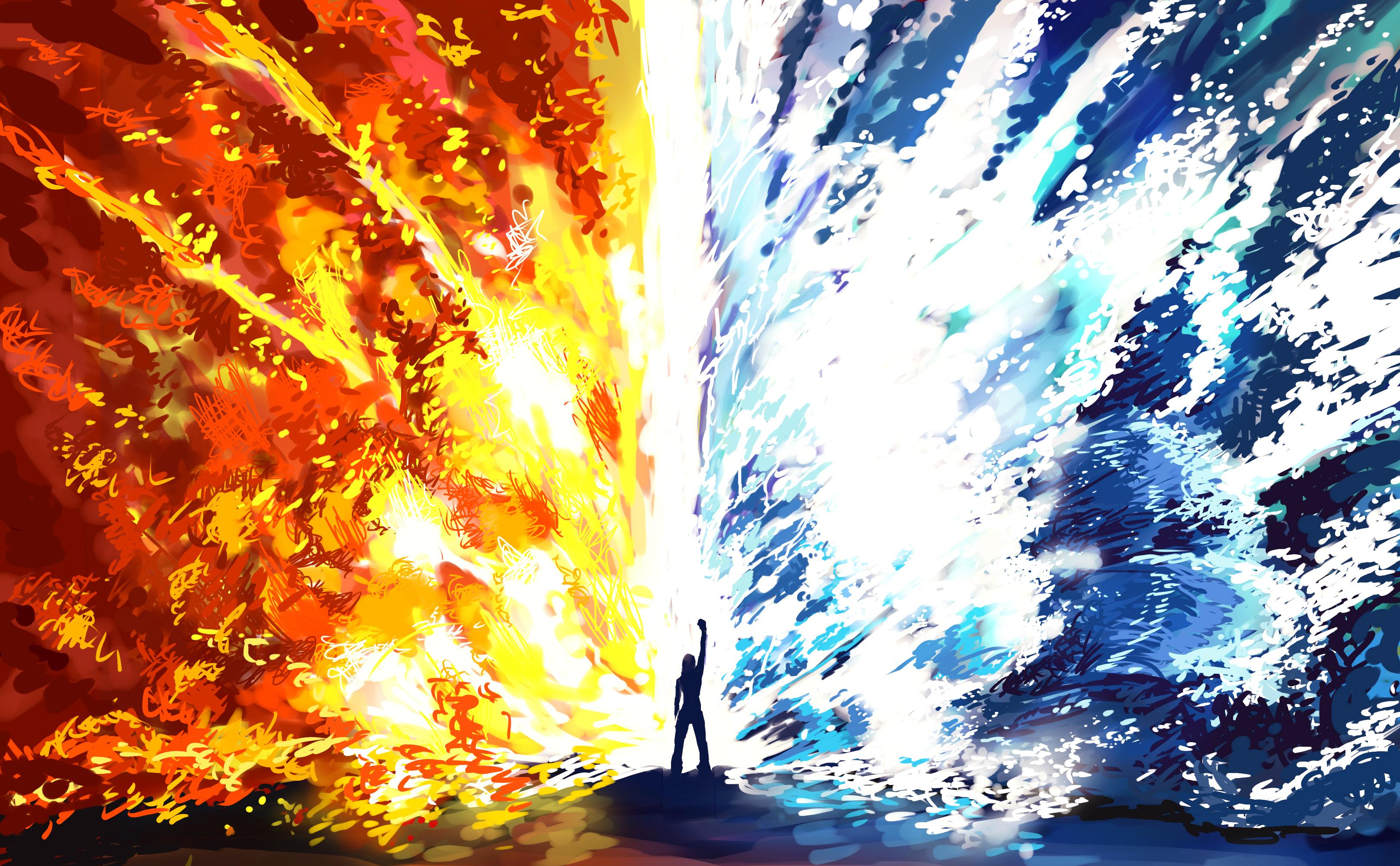 Elemental Fire Girl Magic Water Woman 3232x2000