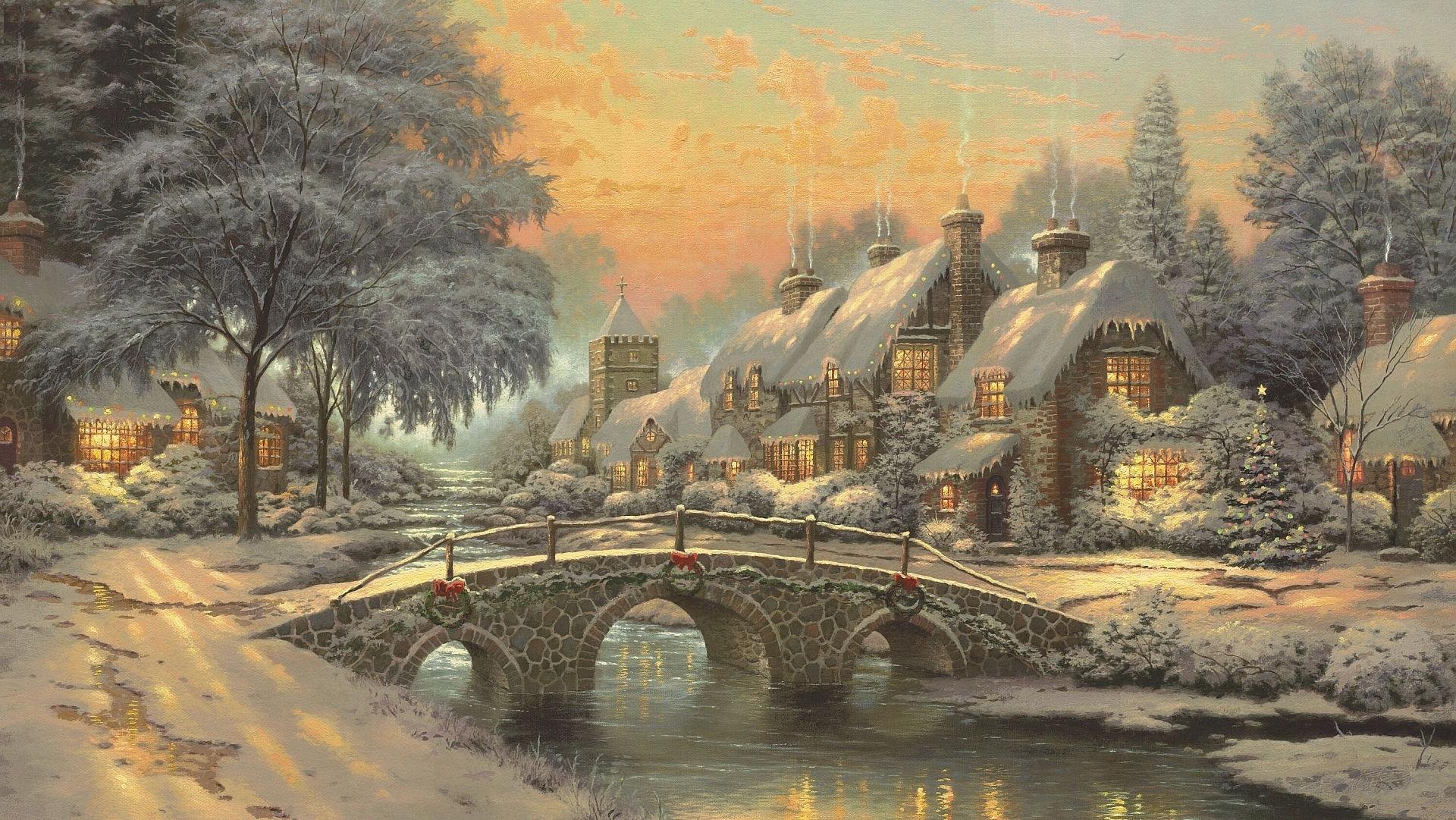 Bridge Christmas Christmas Tree House Painting Village 1920x1081
