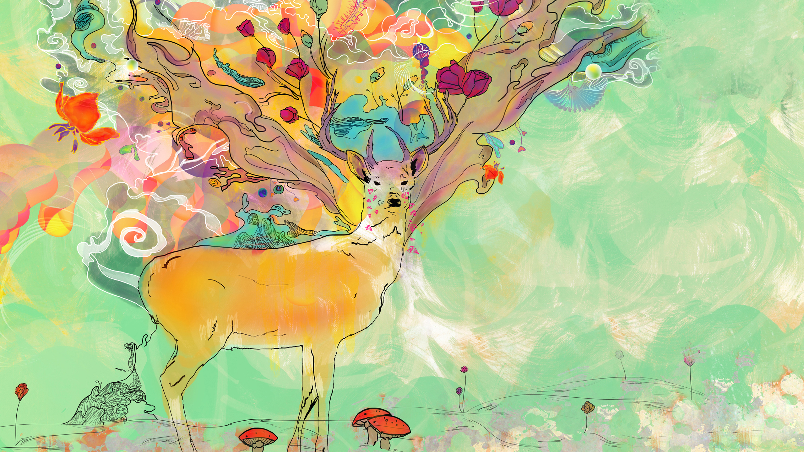 Animal Artistic Deer 2560x1440