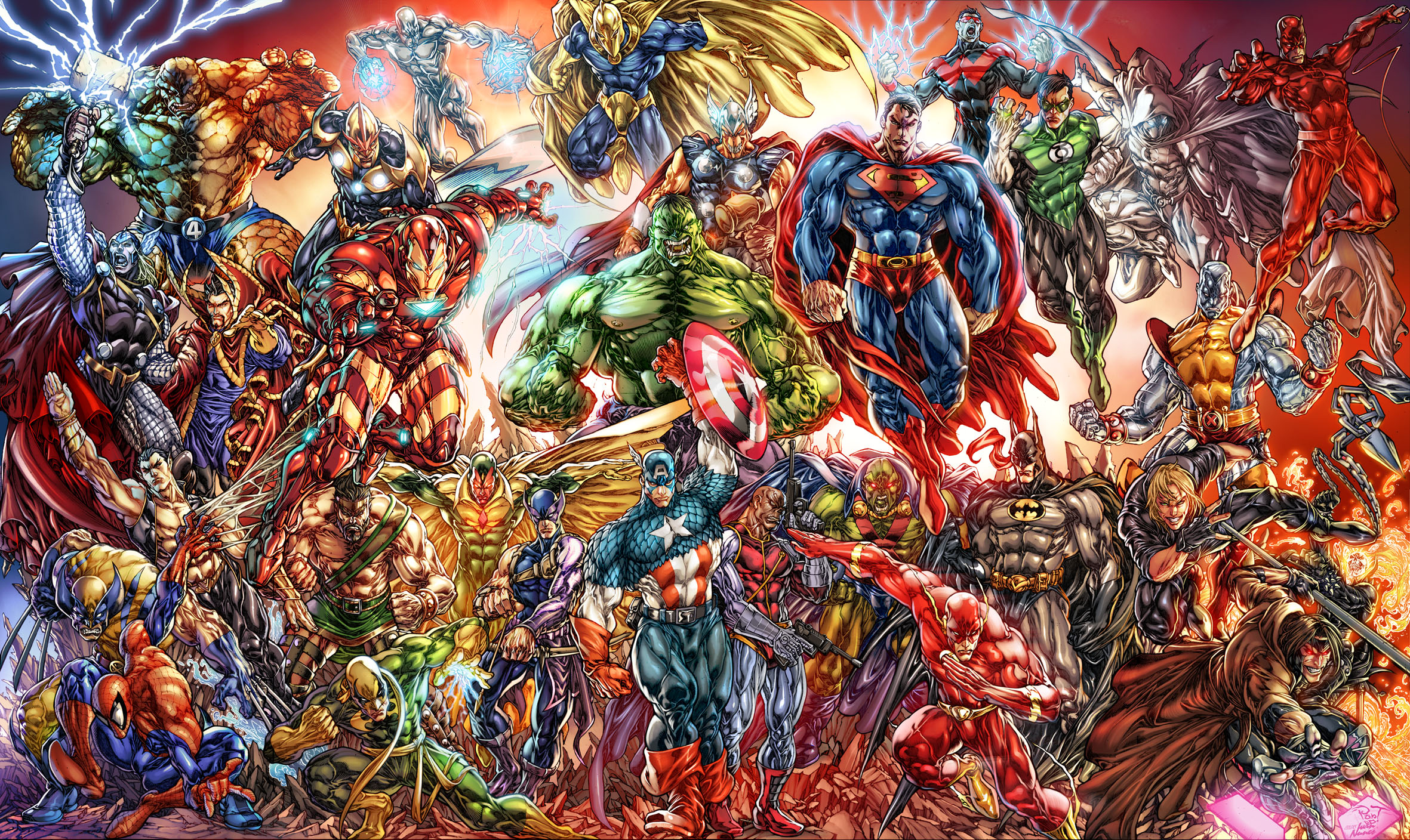 Batman Ben Grimm Beta Ray Bill Captain America Colossus Dc Comics Daredevil Deathlok Doctor Fate Doc 2362x1408