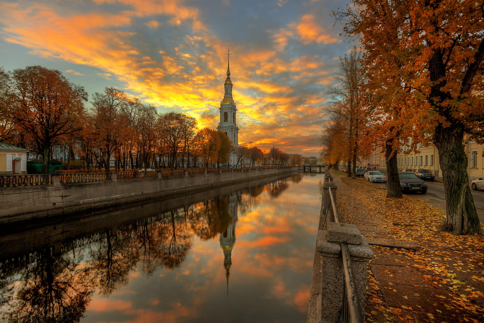 Building Canal Church Man Made Sunset Tree 2048x1366