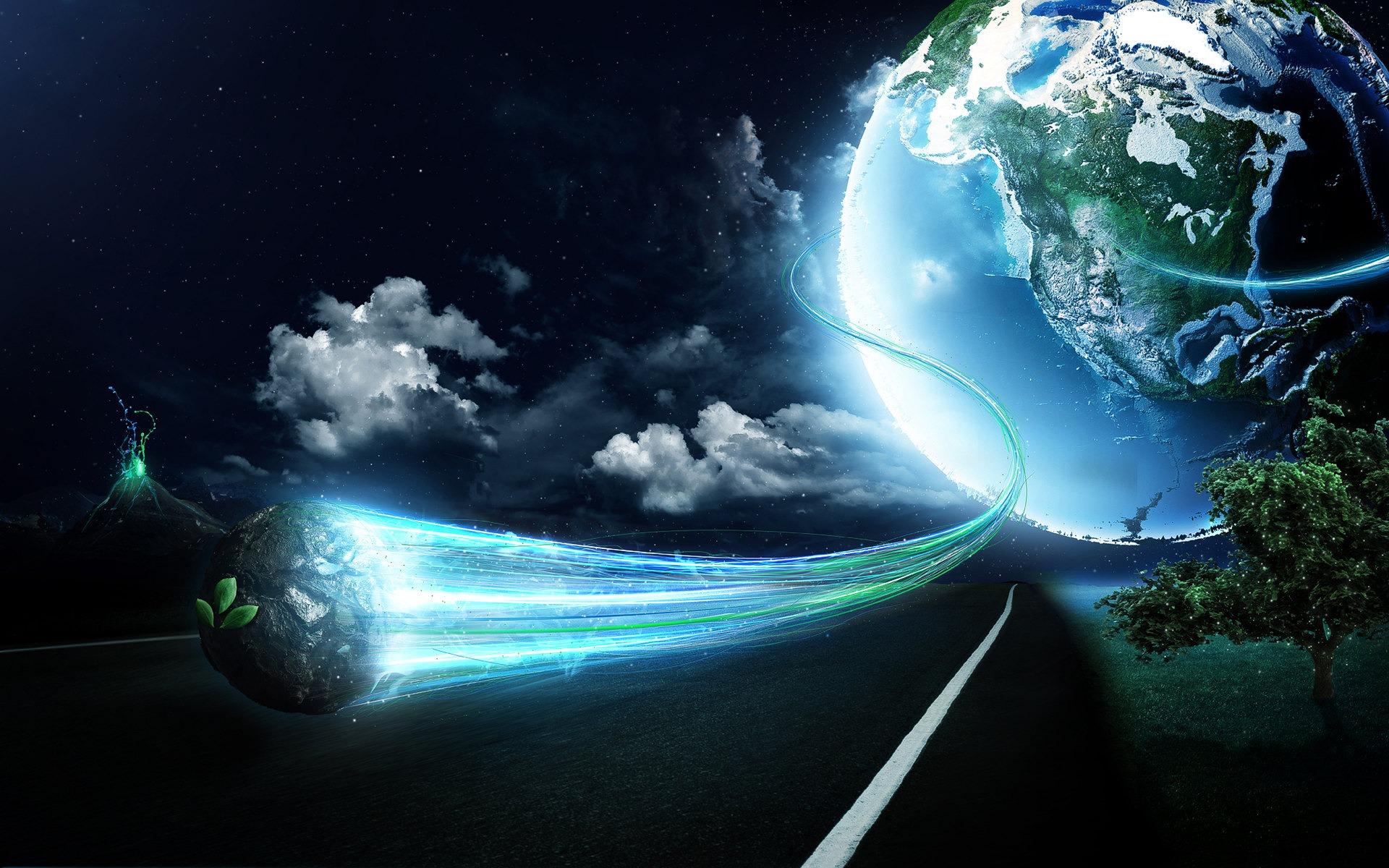 Earth Fantasy Planet Road Tree 1920x1200
